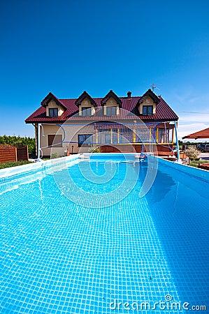 Swimming pool in the yard