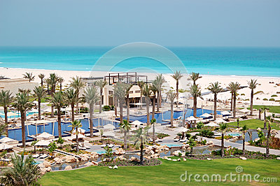 Swimming pools and beach at the luxury hotel