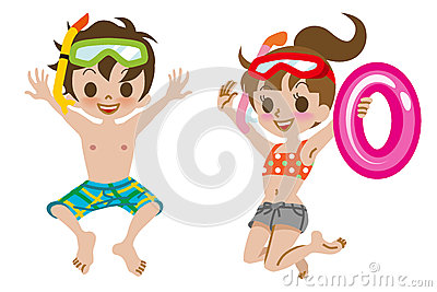 Swimwear Kids Jumping Isolated