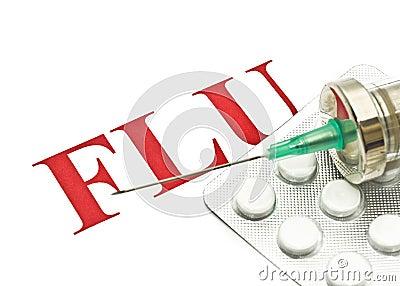 Swine FLU H1N1 - Closeup of pills and syringe