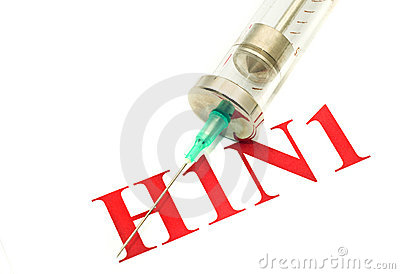Swine FLU H1N1 disease - syringe and red alert