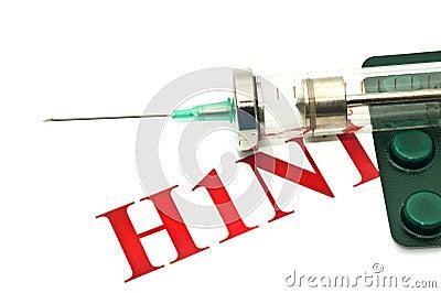 Swine FLU H1N1 disease warning - pills and syringe
