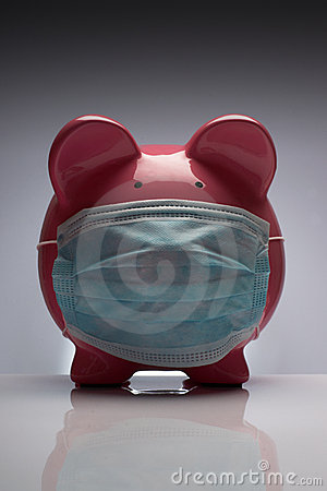 Swine flu pig with mask