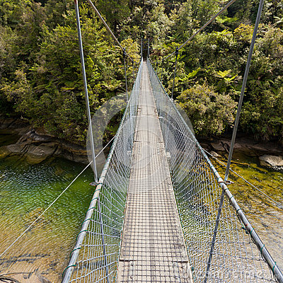 Free Swing Bridge Over Green Jungle River New Zealand Royalty Free Stock Images - 63203139