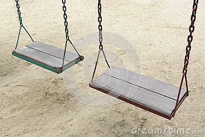 Swing in garden playground at park outdoor