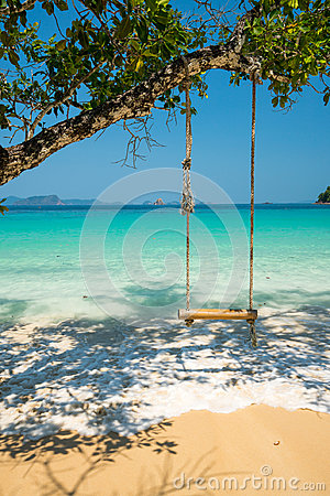 Free Swing Hang On Big Tree Over Beach Sea Stock Images - 97389624