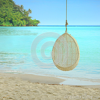 Free Swing Hang On Tree Over Beautiful Beach In Thailand Royalty Free Stock Photography - 55851657