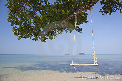Swing on tropical beach.
