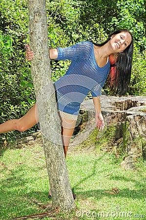 Swinging around a tree