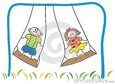 Swinging children