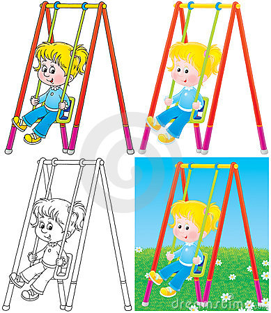 Free Swinging Girl In A Playground Stock Image - 16193561