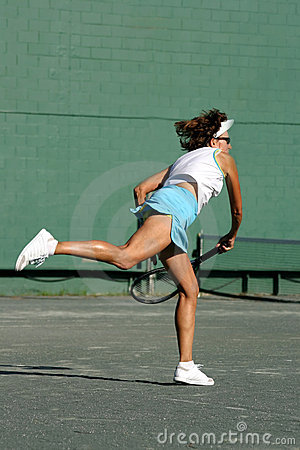 Swinging a racquet