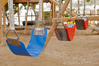 Swings in a childrens play area