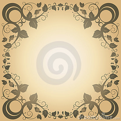Swirl Leaf Frame Vintage Abstract Background