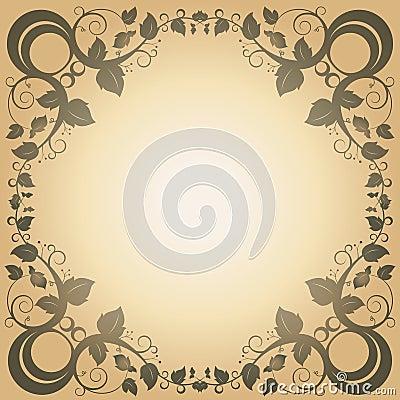 Swirl Leaf Frame Vintage Abstract Background