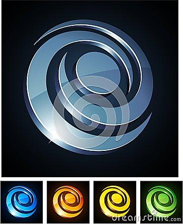 Swirl vibrant emblems.