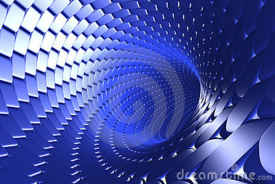 Swirling blue tunnel abstract
