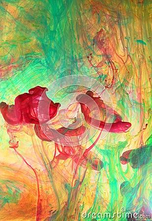 Swirling ink in liquid