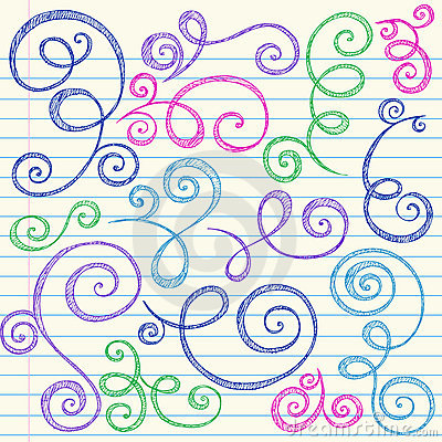 Swirls Sketchy Back to School Doodle Vector