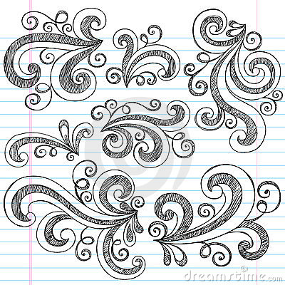 Swirls Sketchy Notebook Doodles Vector Set