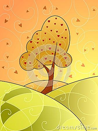 Swirly fall landscape