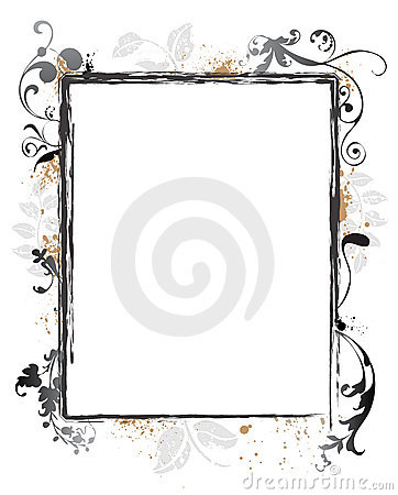 Swirly Grunge Floral Frame Border