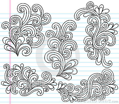 Swirly Notebook Doodles Vector Illustration