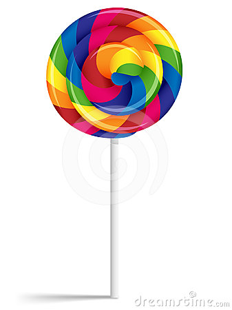 Free Swirly Rainbow Lollipop Royalty Free Stock Photo - 24614165
