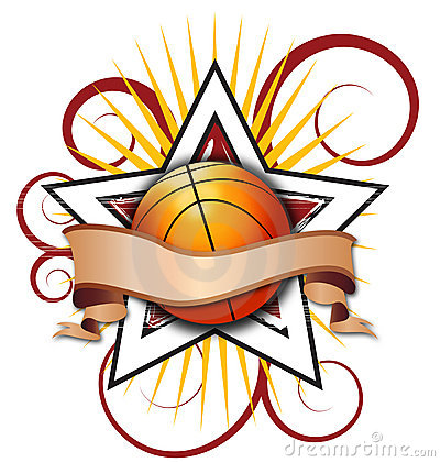 Swirly Star Basketball Illustration