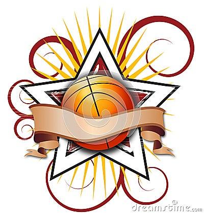 Swirly Star Basketball Illustration