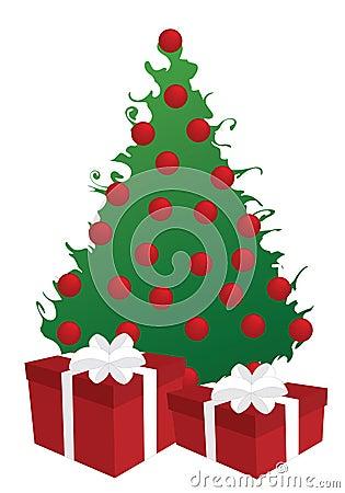 swirly weihnachtsbaum mit geschenken lizenzfreie. Black Bedroom Furniture Sets. Home Design Ideas
