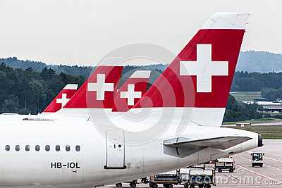 Swiss Air Airplanes Editorial Stock Image