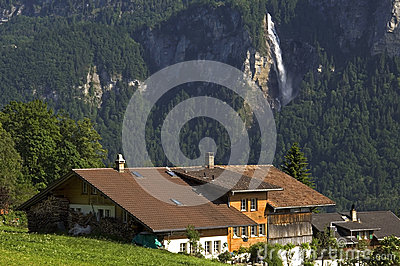 Swiss Alps mountain landscape with waterfall