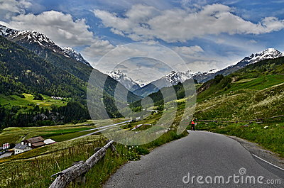 Swiss Alps-view to the road on Ardez