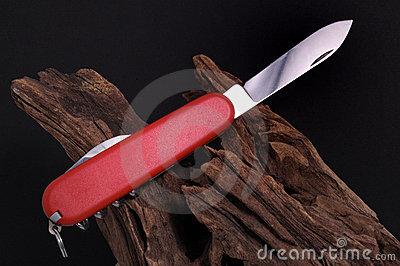 Swiss army Knife and Wood