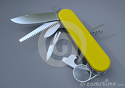 Swiss army knife yellow
