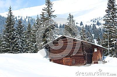 Swiss Barn in Winter