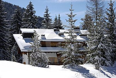 Swiss chalet in winter