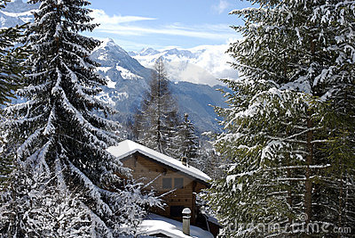 Swiss chalet in winter