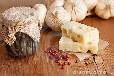 Swiss cheese with garlic and anchovy