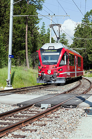 Swiss Commuter Train in the Alps