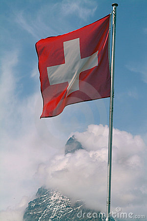 Swiss Flag above the Matterhorn