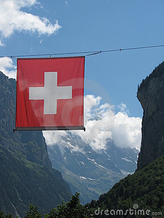 Swiss flag in the Alps