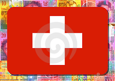 Swiss flag with Swiss Francs