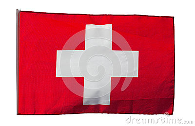 Swiss flag in the wind on a white background