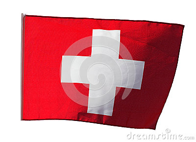 Swiss flag in the wind on white background