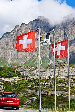 Swiss flags on San Bernardino pass