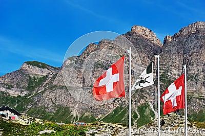 Swiss flags on San Bernardino pass