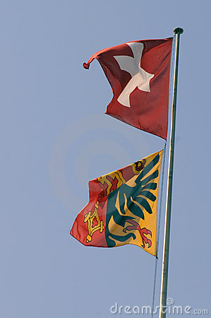 Swiss and Geneva Flags (0380)