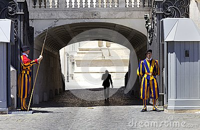 Swiss Guard at Vatican Editorial Photo